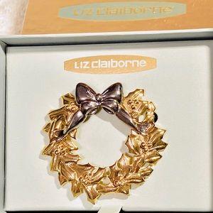 Liz Claiborne Christmas wreath brooch